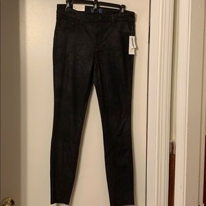 Black Super Skinny Leather like Jeans by Old Navy.